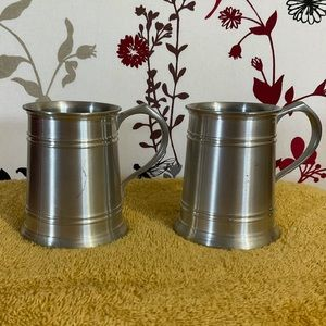 Small Vintage Selangor Pewter Tankards - set of two $30